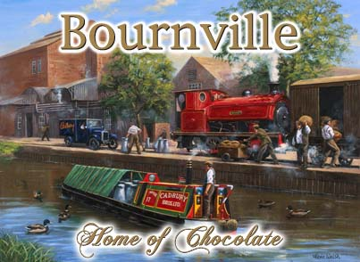 Canal Barge at Bournville Metal Wall Art