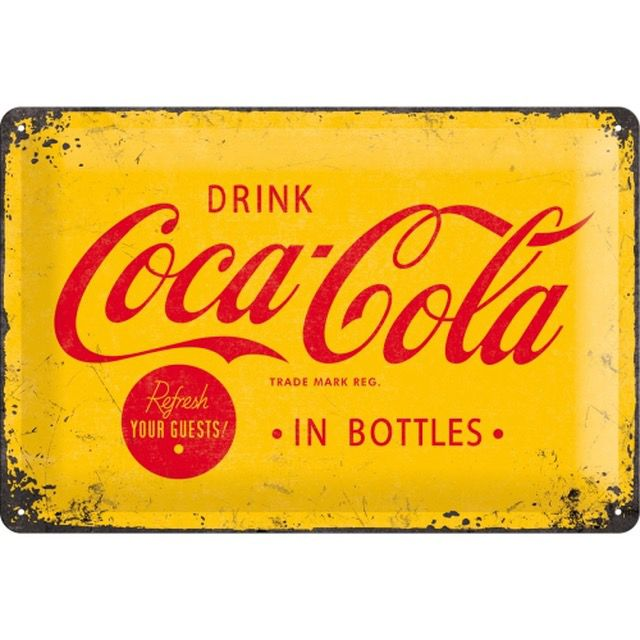 Coca Cola Yellow Sign 3D Metal Wall Art