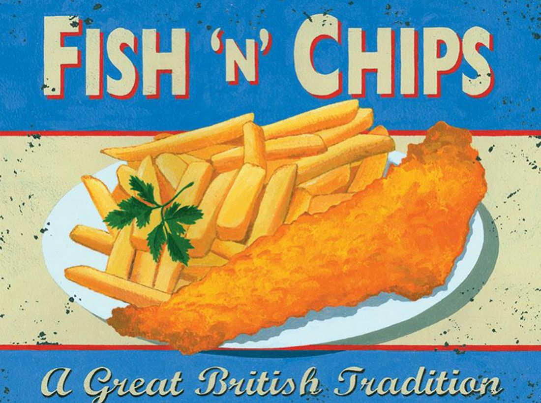 Fish n Chips Metal Wall Art
