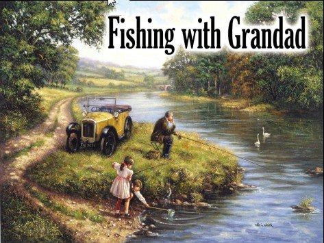 Fishing with Grandad Metal Wall Art