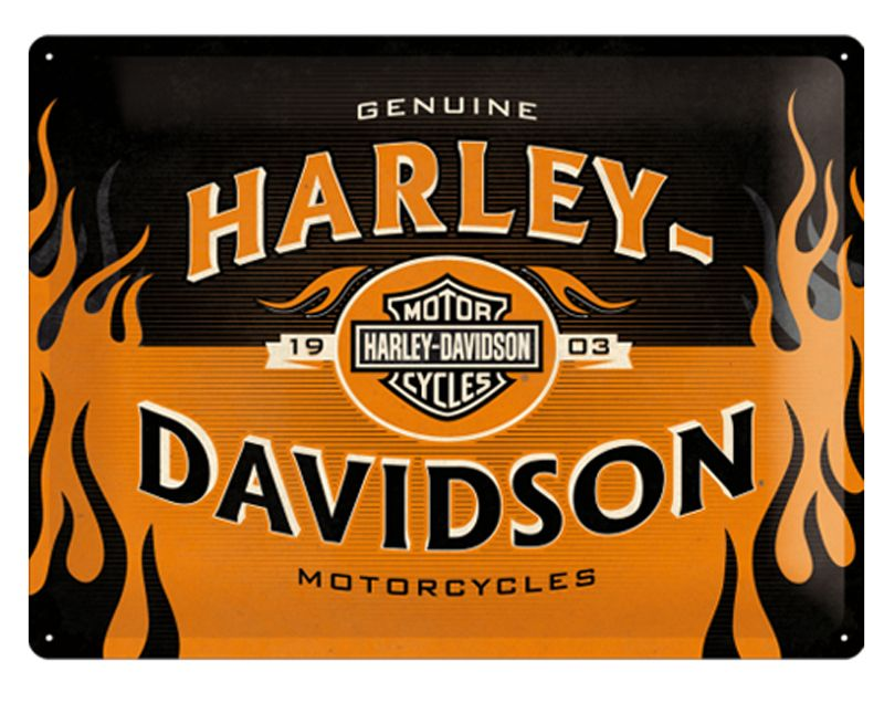Harley Davidson Logo Orange 3D Metal Wall Art