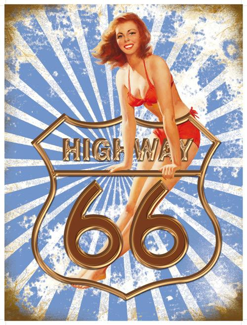 Highway 66 Metal Wall Art