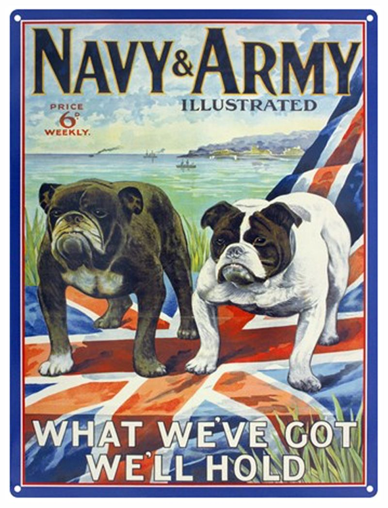 Navy and Army Illustrated Metal Wall Art