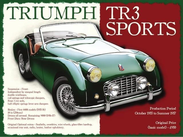 Triumph TR3 Sports Metal Wall Art