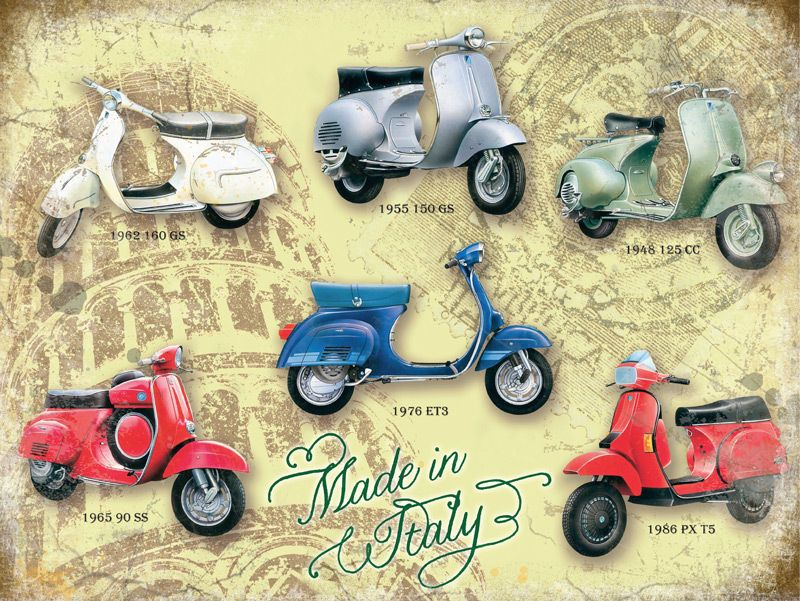 Vespa Scooter Collage Metal Wall Art