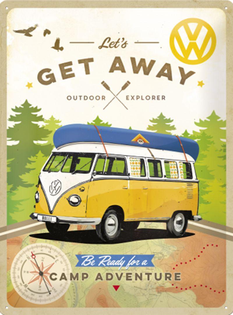 VW Camper 'Let's Get Away' 3D Metal Wall Art