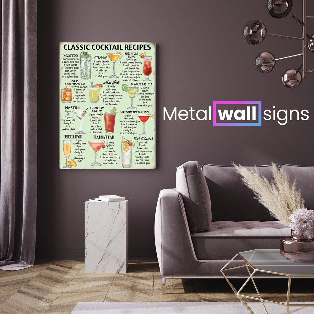 Classic-Cocktail-Recipes-Metal-Wall-Art-Sign-MWS