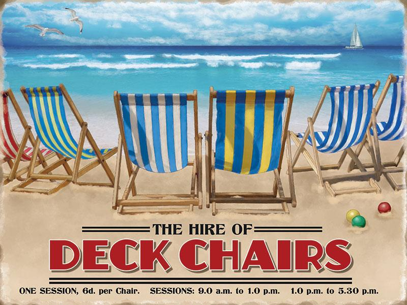 Deck Chairs Seaside Sign