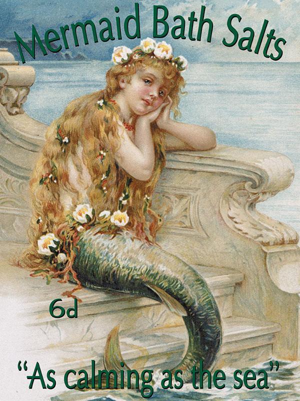 Mermaid Bath Salts Metal Wall Sign