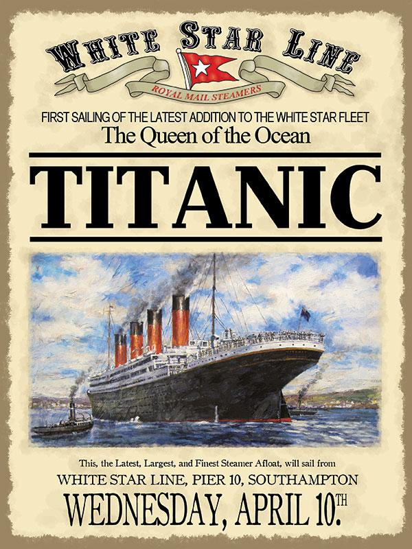 Titanic First Sailing Metal Wall Sign