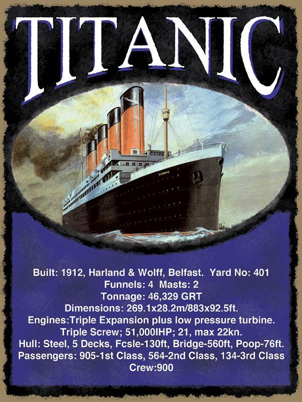 Titanic Statistics Metal Wall Sign