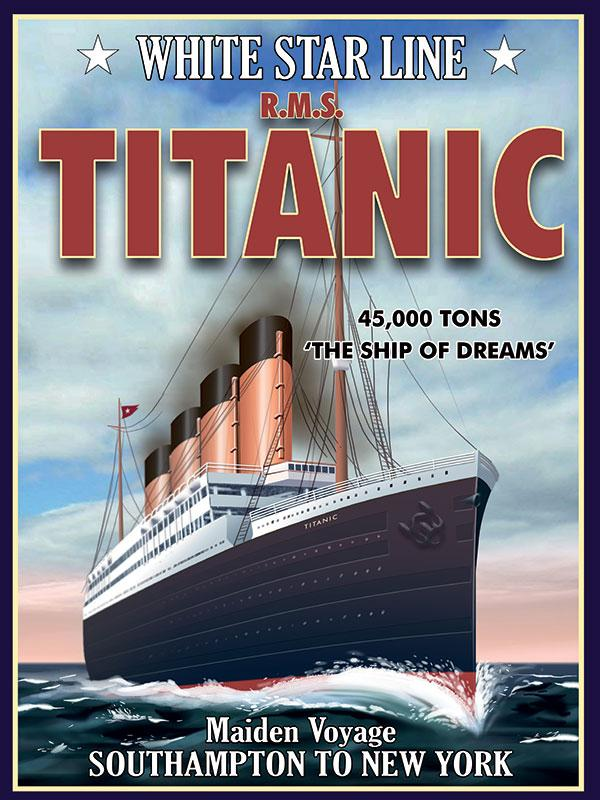 Titanic White Star Liner Metal Wall Sign