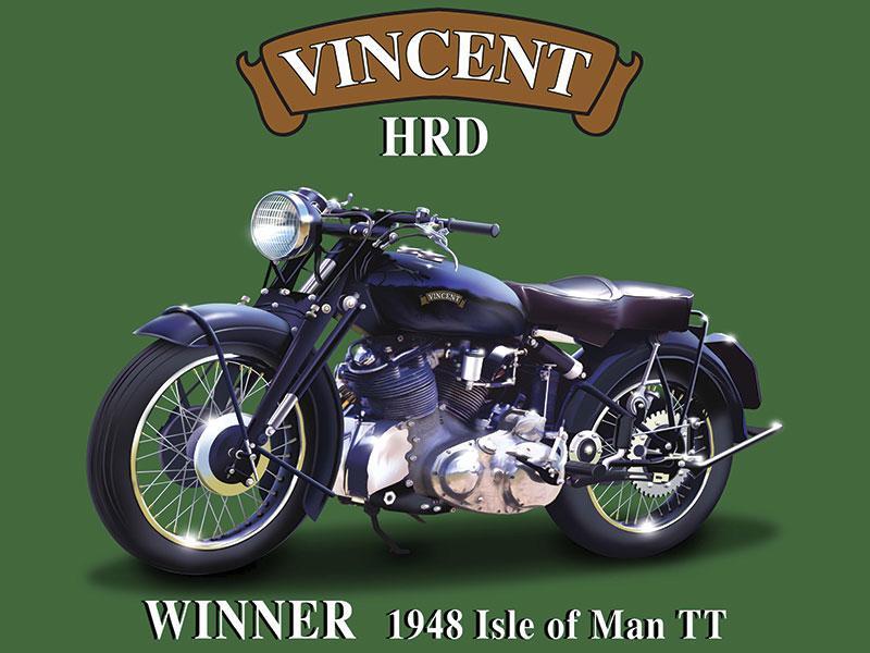 Vincent HRD Motorbike Metal Wall Sign