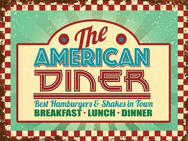 American Diner Metal Wall Art