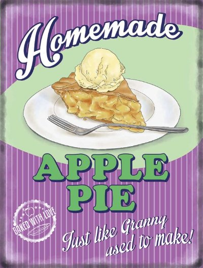 Apple Pie Retro Diner Metal Wall Art