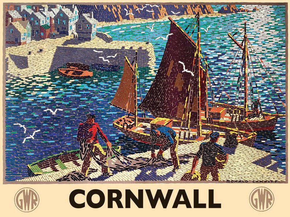 Cornwall Railway Fishermen Metal Wall Art