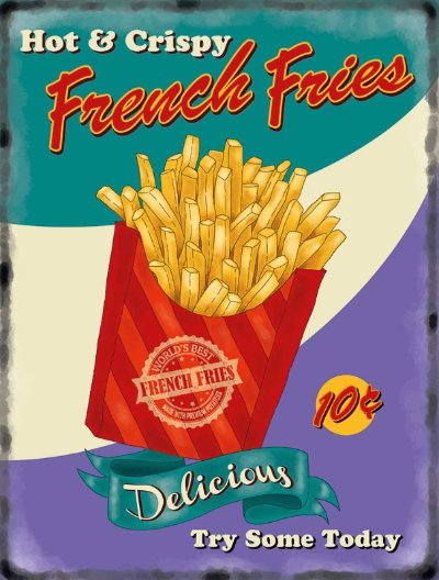 French Fries Retro Diner Metal Wall Art