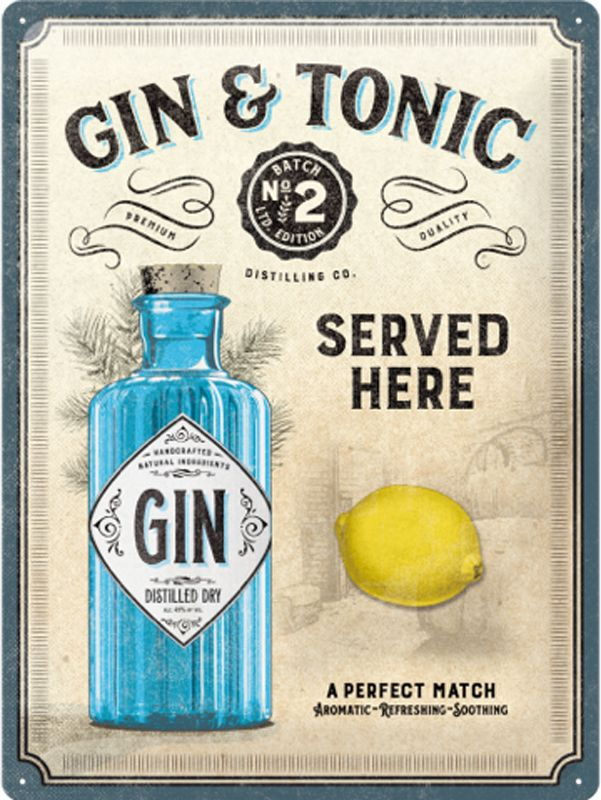Gin and Tonic 3D Metal Wall Art Small