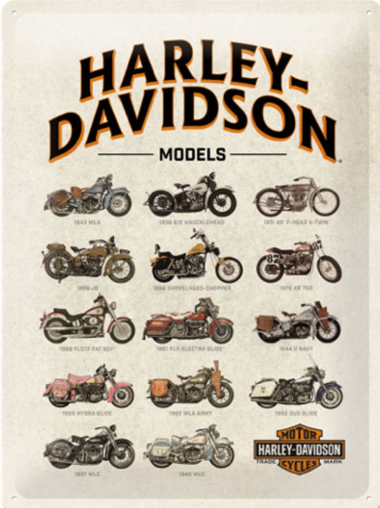 Harley Davidson Bike Models 3D Metal Wall Art