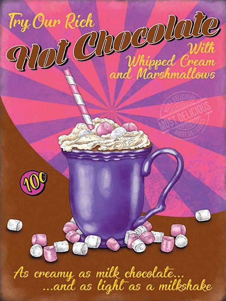 Hot Chocolate Retro Diner Metal Wall Art