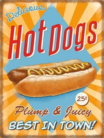 Hot Dogs Retro Diner Metal Wall Art