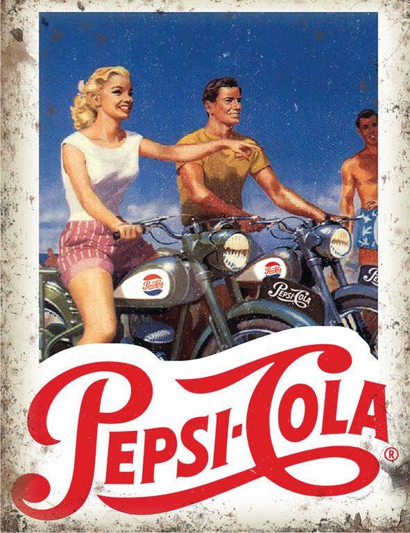 Pepsi Cola Bike Metal Wall Art
