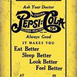Pepsi Cola Vintage Yellow Metal Wall Art