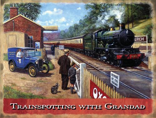 Trainspotting with Grandad Metal Wall Art