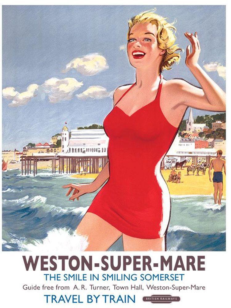 Weston Super Mare Railway Poster Metal Wall Art