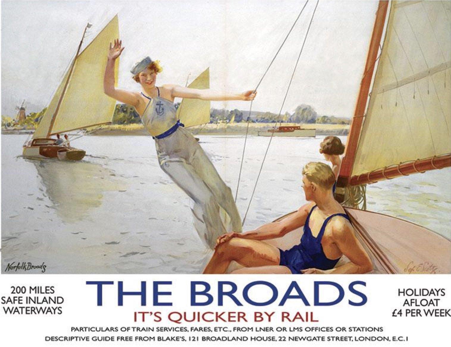 The Broads Railway Poster Metal Wall Art