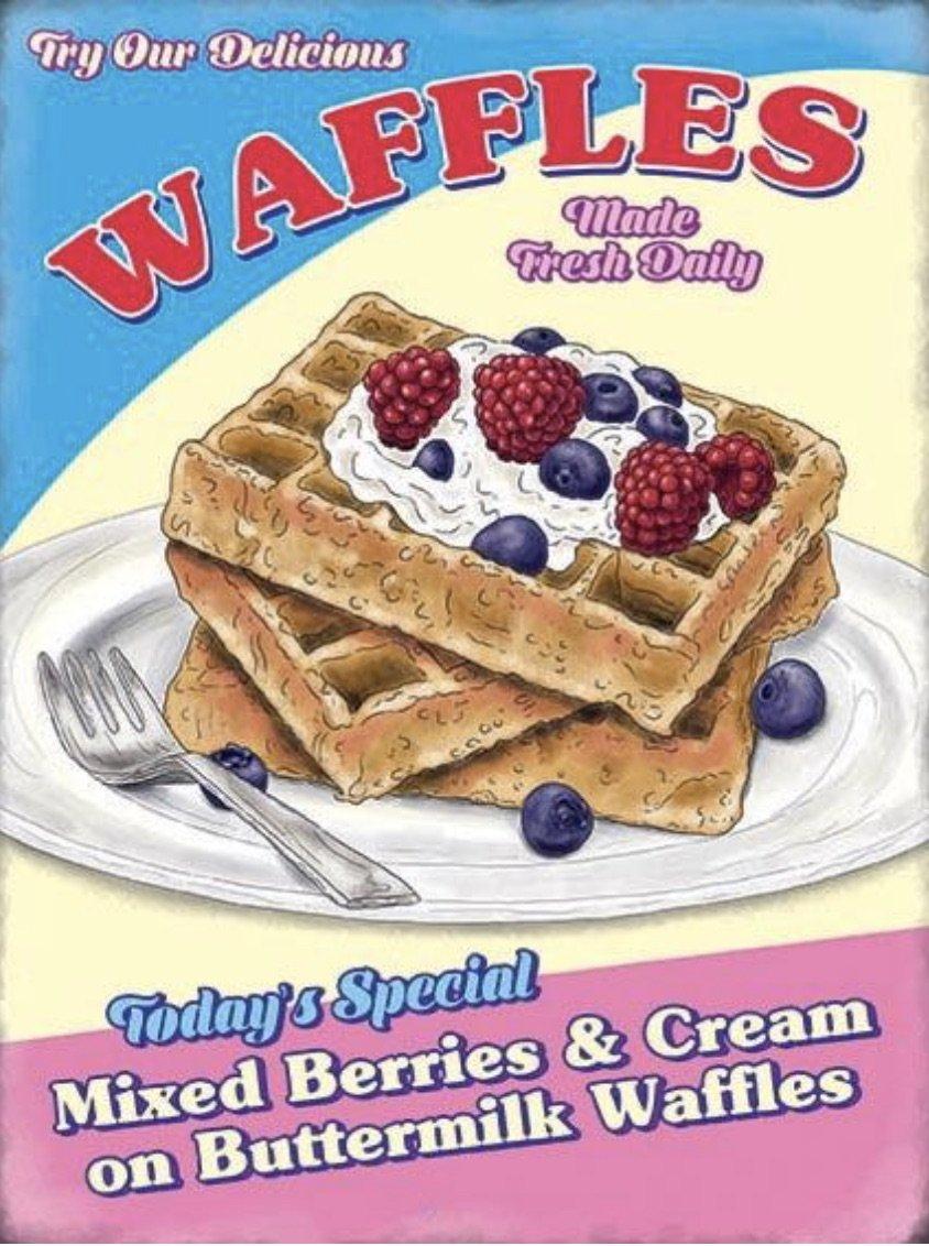 Waffles Retro Diner Metal Wall Art