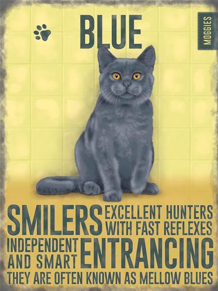 Blue Cat Metal Wall Art