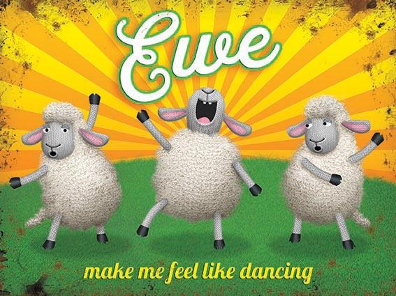 Ewe Sheep Dancing Metal Wall Art