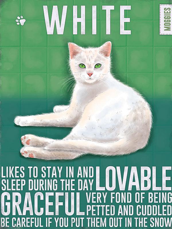 White Cat Metal Wall Art