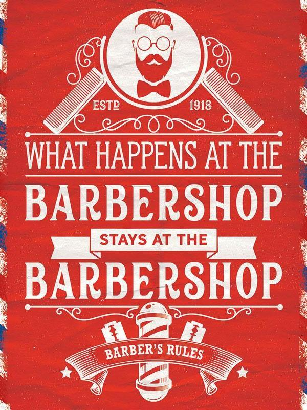 Barbershop Rules Metal Wall Art