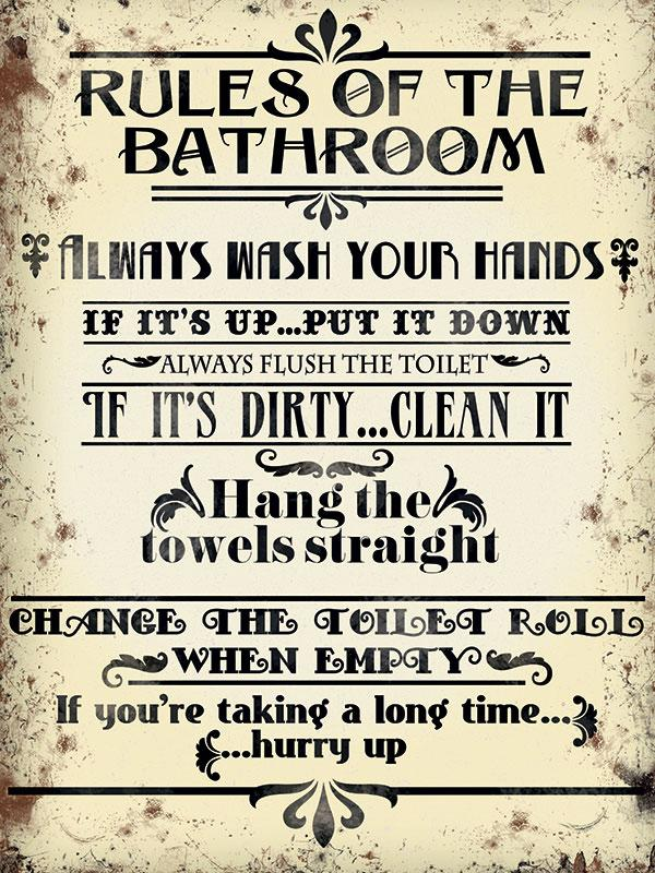 Bathroom Rules Metal Wall Art