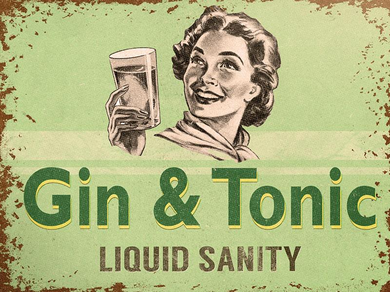 Gin Liquid Sanity Metal Wall Art