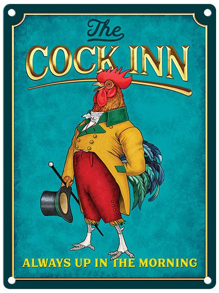 The Cock Inn (Gentleman) Pub Metal Wall Sign