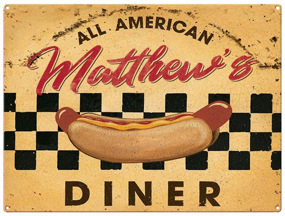 Personalised Diner Metal Wall Art