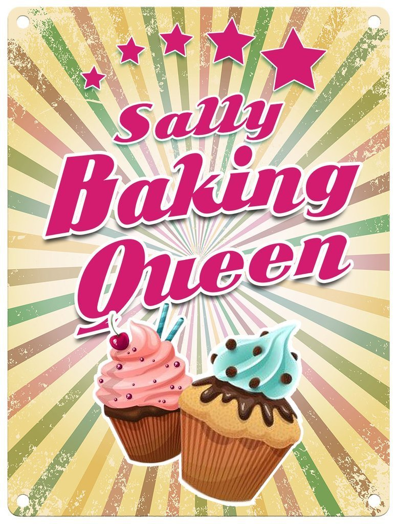 Personalised Baking Queen Metal Wall Art