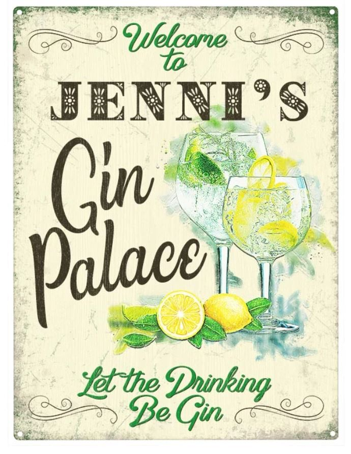 Personalised Gin Palace Metal Wall Art