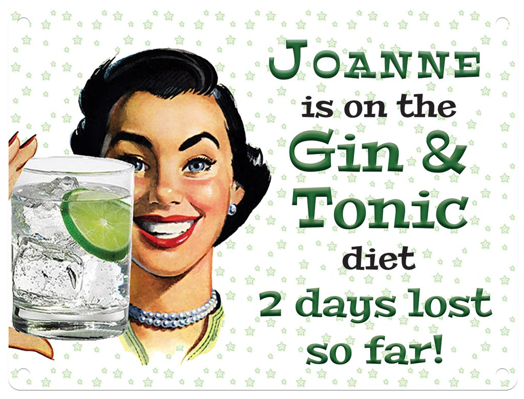 Personalised Gin & Tonic Diet Metal Wall Art