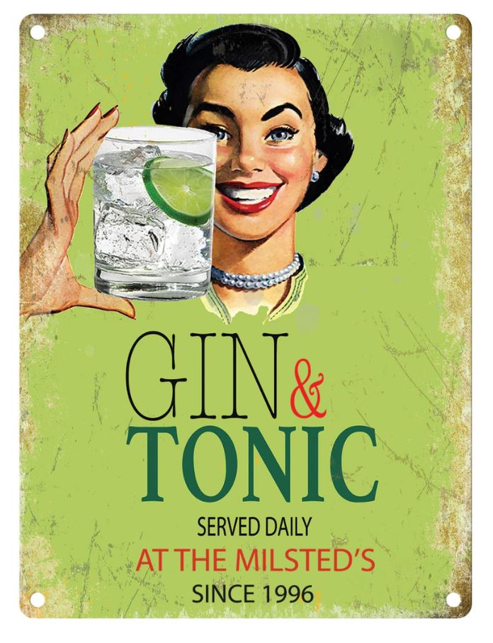 Personalised Gin Served Daily Metal Wall Art