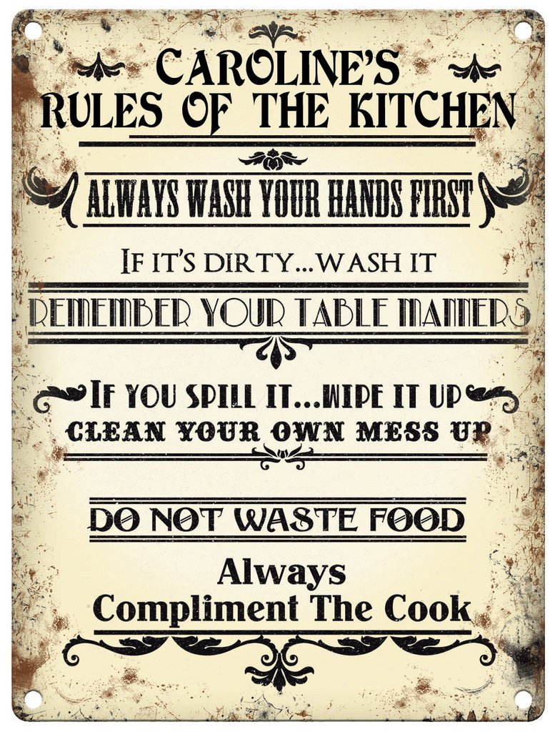 Personalised Rules Of The Kitchen Metal Wall Art